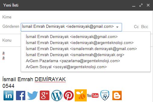 Google Mail Gönderimini Seçme