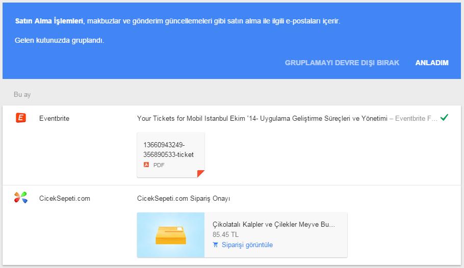 Google Inbox Satın Alma İşlemleri