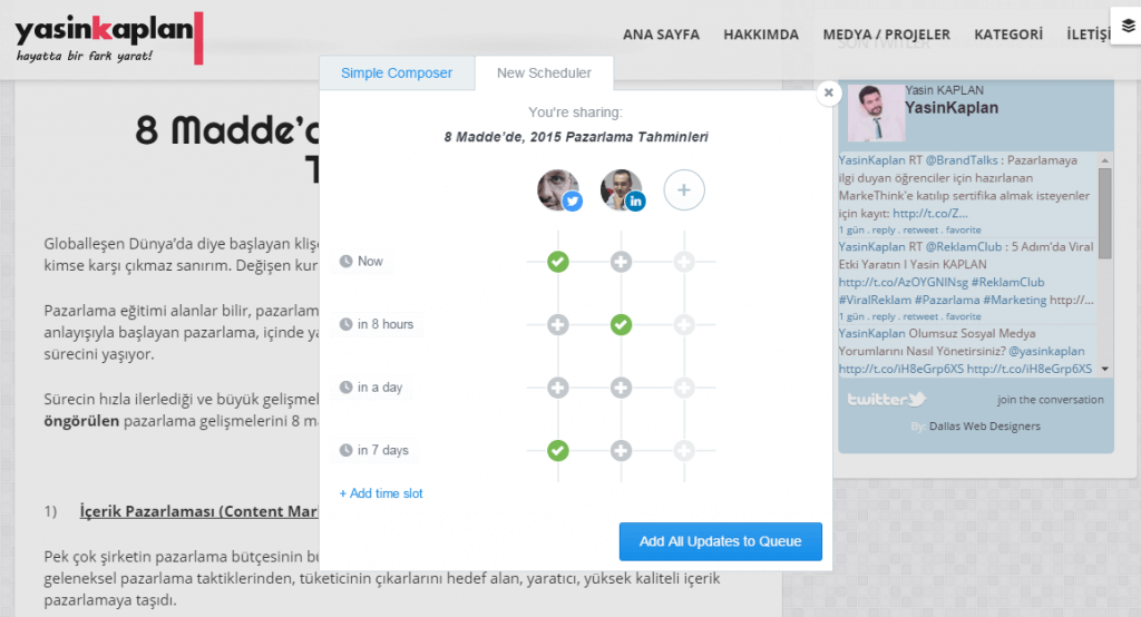 Buffer (BufferApp) Paylaşım Ekranı