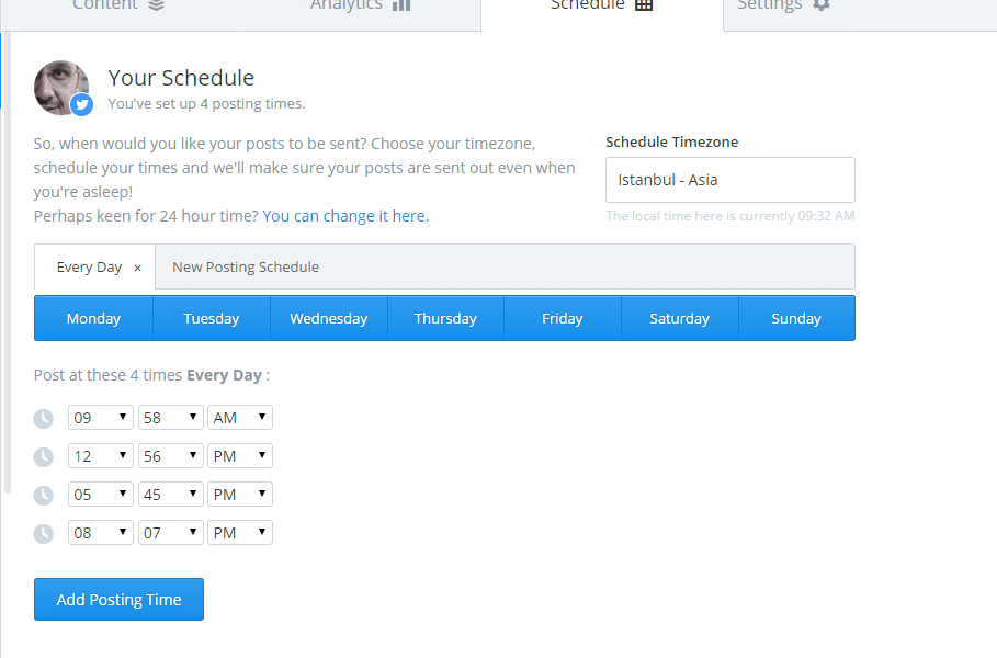 Buffer (BufferApp) Schedule
