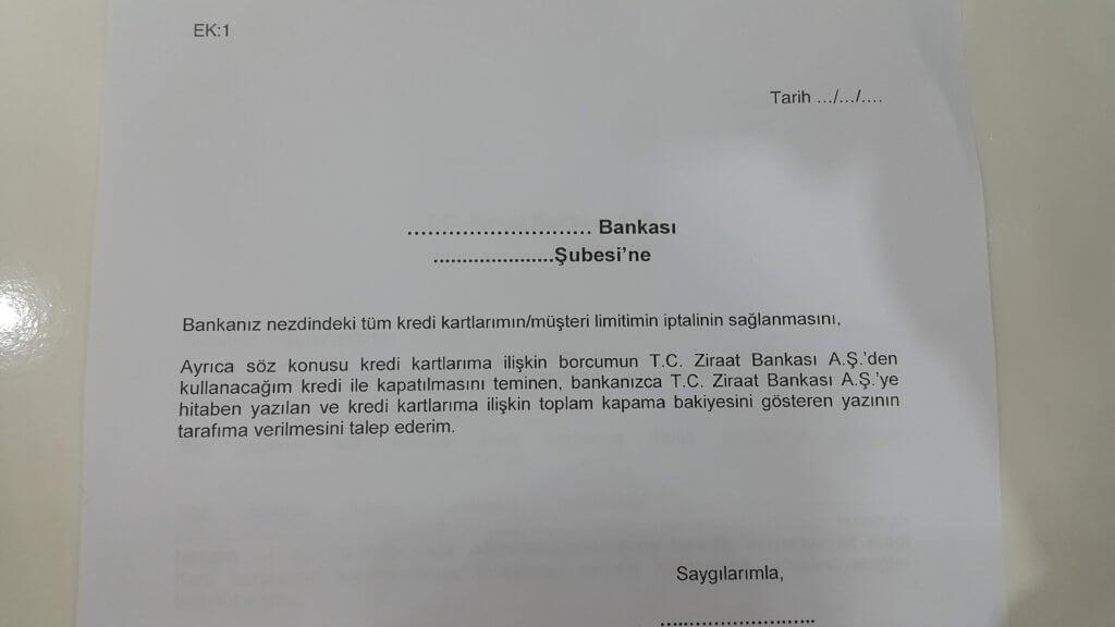 Ziraat Bankası kredi kartı borç yapılandırma dilekçesi EK-1