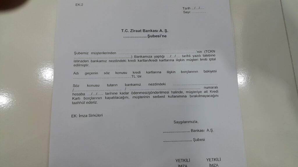 Ziraat Bankası kredi kartı borç yapılandırma dilekçesi EK-2